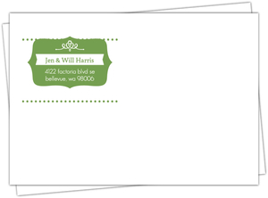 Whimsical Green First Noel Custom Envelope