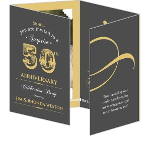 Vintage Gray And Gold Surprise Golden Anniversary Invitation