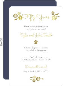 Floral Golden Anniversary Invitation