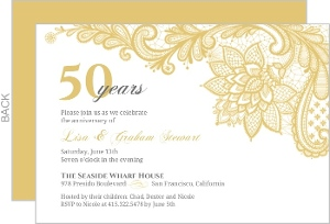 Elegant Lace Golden Anniversary Invitation