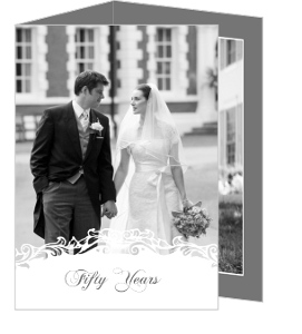 White Flourish 50Th Wedding Anniversary Party Invitations