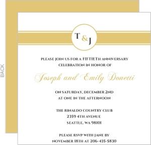 Gold Monogram 50Th Anniversary Anniversary Party Invite
