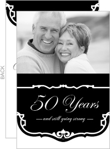 Black and White Vintage  50th Anniversary Party Invitation
