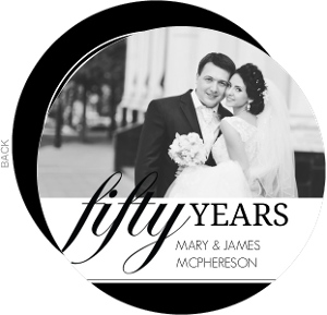 Black and White Circle 50th Anniversary Party Invitation