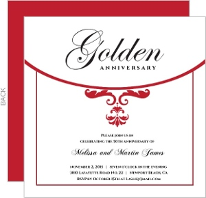 Classic Red And White Elegance 50Th Anniversary Invite