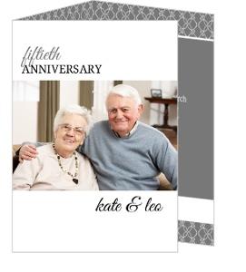 Gray And White Elegant Border Anniversary Invitations - 4067