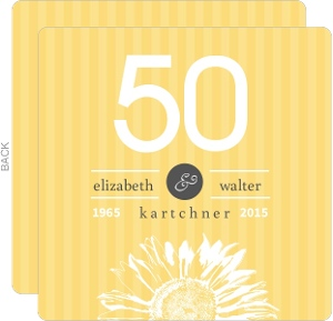 Sunflower Striped Golden Anniversary Party Invitation