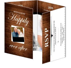Rustic Wood Grain Anniversary Invite And Rsvp - 4057