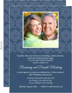 Decorative Flourish White And Navy 50Th Anniversary Invitation