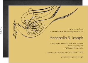 Elegant Yellow Flourish Wedding Anniversary Invitation