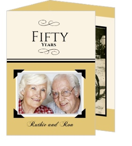 Trifold Gold Photo 50Th Wedding Anniversary Invitation