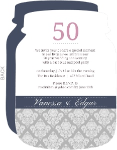 Damask 50Th Anniversary Party Invitation