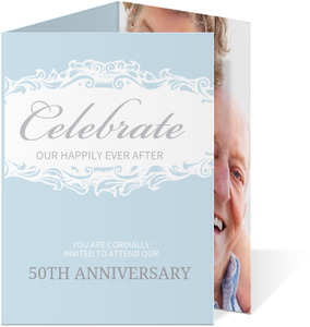 Blue Formal Trifold Wedding Anniversary Invitation - 4068