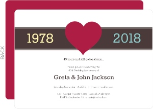 Red Heart 50th Anniversary Invitation