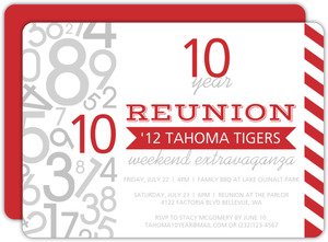 Modern Numbers Class Reunion Invitation