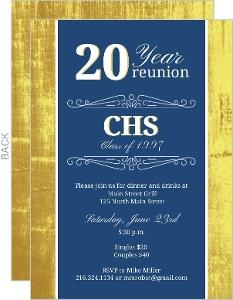 Classic Colors 20 Year Class Reunion Invitation
