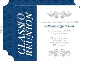 Vertical Blue Stripe High School Reunion Invitation