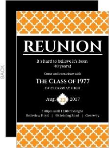 Black and Orange 40 Year Class Reunion Invitation