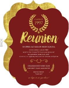 Beautiful Faux Gold Foil Class Reunion Invitation