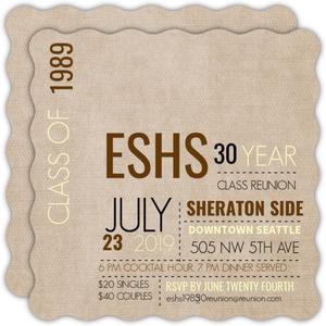 Linen Texture Class Reunion Invitation