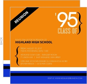 Orange and Blue Modern Class Reunion Invitation