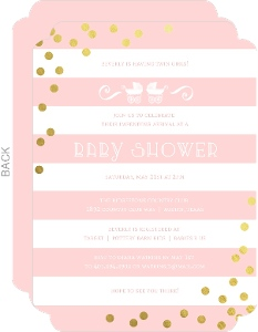 Pink Stripes Foil Confetti Twin Baby Shower Invitation