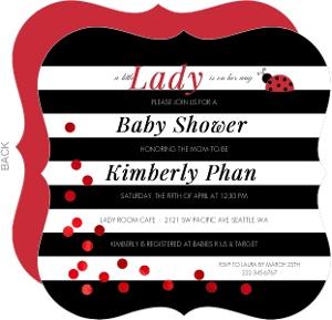 Black & White Stripes Ladybug Baby Shower Invitation