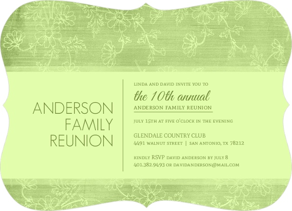 Texture Green Floral Family Reunion Invitation  Reunion Invitations