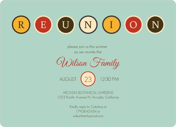 Retro Blue Family Reunion Invitation – Family Reunion Invitation Cards