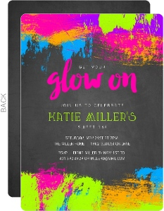 Neon Glow Paint Splatter Frame Sweet Sixteen Birthday Invitation