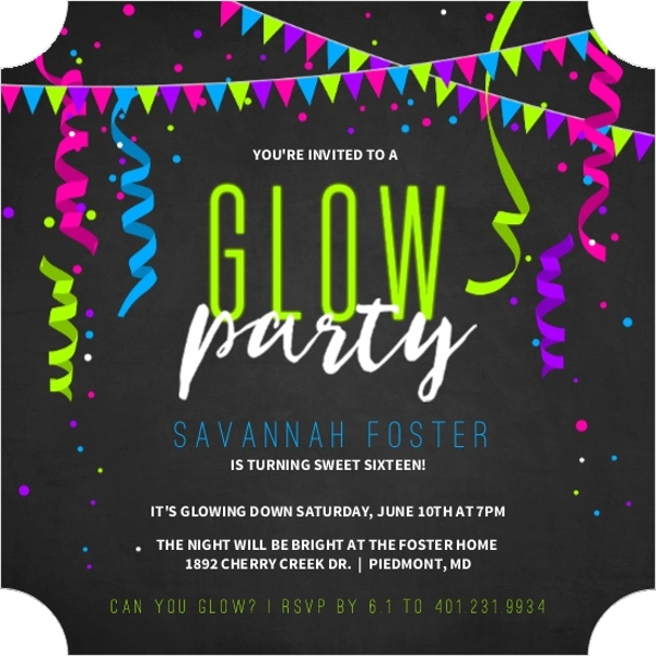 Neon Glow Party Streamers Birthday Party Invitation – Glow Party Invite