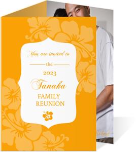 Orange Tropical Flowers Luau Reunion Invite