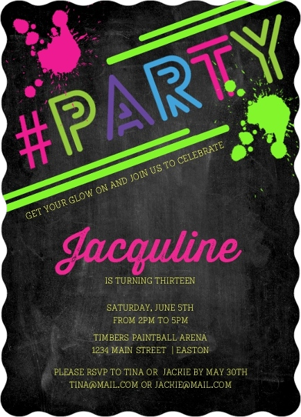 Hashtag Neon Party Birthday Party Invitation