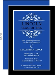 Blue and Black School Colors Class Reunion Invitation