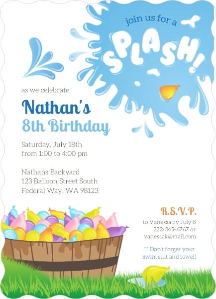 Splash Water Balloon Birthday Invitation