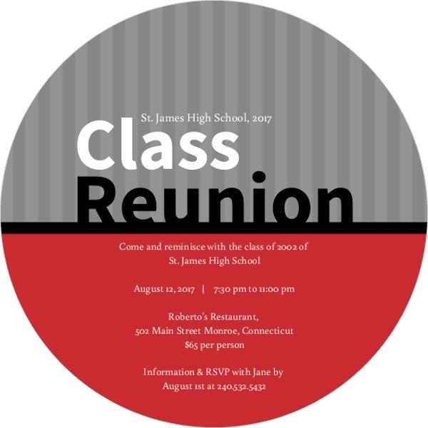 High School College Class Reunion Invitations