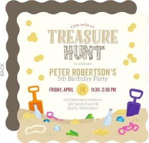 Sand Treasure Hunt Birthday Party Invitation