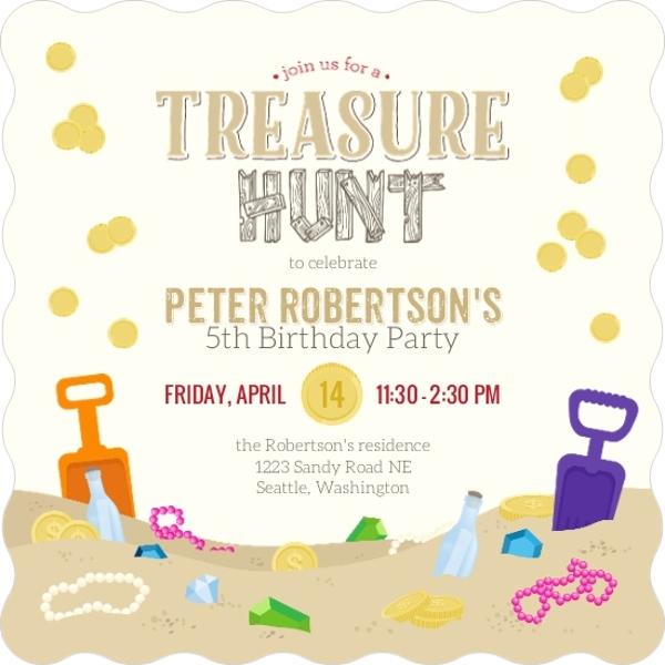 Sand Treasure Hunt Birthday Party Invitation – Treasure Hunt Party Invitations