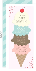Creamy Ice Cream Stack Birthday Party Invitation