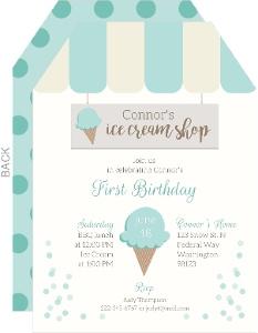 Mint Dots Ice Cream Shop Birthday Invitation