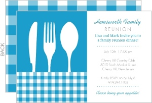 Blue Plaid Place Setting Family Reunion Invitation