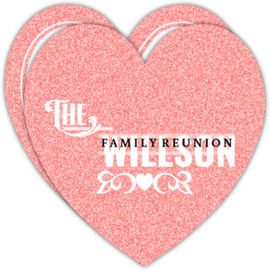 Faux Pink Glitter Heart Family Reunion Invitation