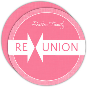 Pink Linen Family Reunion Invitation