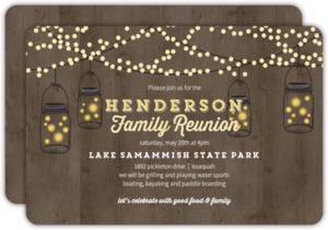 Rustic String Lights Family Reunion Invitation