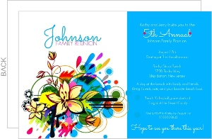 Bright And Bold Blue Family Reunion Invitation