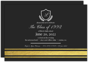 Gold Foil Crest Class Reunion Invitation