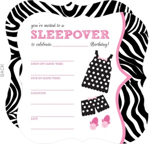Polka Dot Pajamas Fill In The Blank Slumber Party Invitation