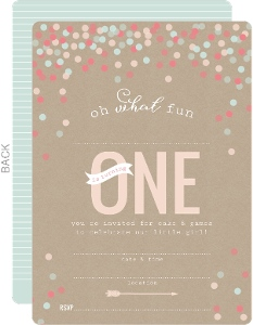 Krafty Confetti First Birthday Fill In The Blank Invitation