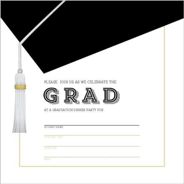 Classic And Modern Graduation Cap Fill In The Blank Invitaion