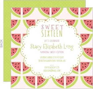 Sweet Watermelon Birthday Party Invitation